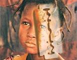 Kindergesicht und Rasierklinge